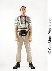 nerd., vestito, uomo
