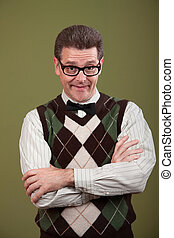 Nerd With Arms Folded - Caucasian nerd with arms folded on...