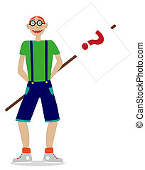 nerd with placard o white background