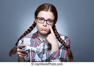 Nerd Woman Playing Videogames - Nerd Woman with Braid...