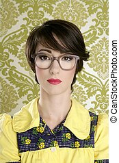 nerd woman retro portrait 70s wallpaper