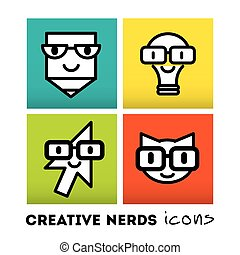 Nerds icon set with funny faces in glasses pencil, lamp, cat, cursor. Bunch of the colored emoticons. Happy doodles