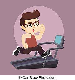 nerds running on a treadmill
