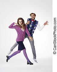 nerds, tendo divertimento, enquanto, dançar