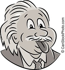 Cartoon style illustration of head of nerdy genius scientist Albert Einstein sticking his tongue out viewed from front on isolated white background.