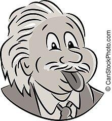 Nerdy-albert-einstein-CARTOON - Cartoon style illustration ...