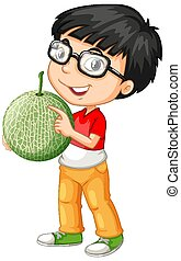 Nerdy boy holding melon fruit in standing position illustration