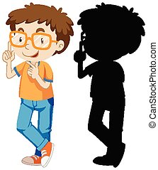 Nerdy boy in colour and silhouette illustration