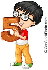 Nerdy boy wearing glasses holding math number five illustration