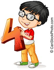 Nerdy boy wearing glasses holding math number four illustration