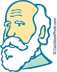 Doodle art illustration of a nerdy scientist or Charles Darwin with white beard done in cartoon style on isolated white background.
