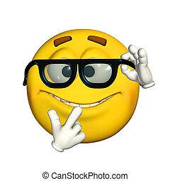 Illustration of a nerdy emoticon isolated on a white background