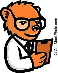 nerdy, ours, mascotte, scientifique