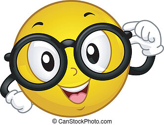 Nerdy Smiley - Illustration of a Smiley Wearing Glasses