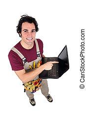 neringdoende, met, zijn, draagbare computer