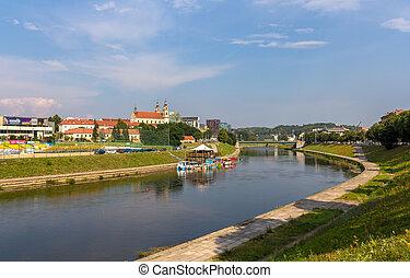 neris, folyó, alatt, vilnius, litvánia