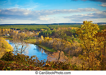 Neris River - view to the Neris river from the hill in ...
