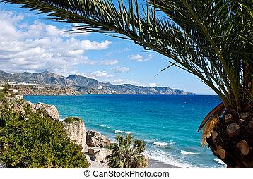 nerja, 浜, そして, 都市, -, スペイン