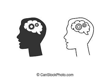 nero, affari, set, uomo, ingranaggio, cervello, linea, silhouette, testa, vettore, icona