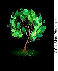 nero, albero, sfondo verde