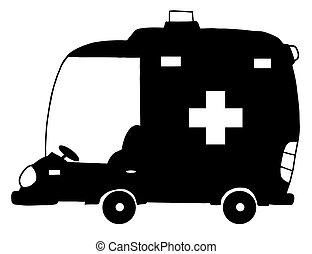 nero, ambulanza, bianco