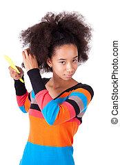 nero, americano africano, ragazza adolescente, pettinatura, lei, capelli afro