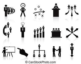 nero, amministrazione, icone, set