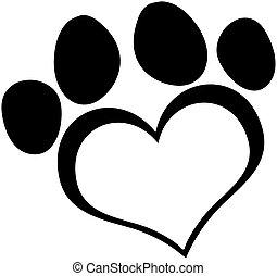 nero, amore, stampa paw