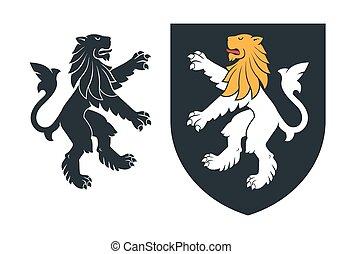 nero, araldico, rampant, leone, 03
