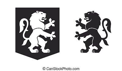 nero, araldico, rampant, leone