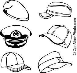 nero, arte, isolato, berretto, set, vettore, bianco