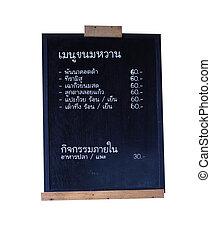 nero, asse, di, tailandese, menu, con, percorso tagliente