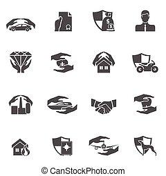 nero, assicurazione, icone