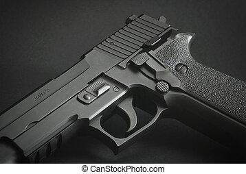 nero, automatico, arma da fuoco