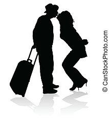 nero, bacio, sicuro, viaggio