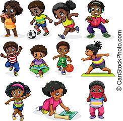 nero, bambini, attraente, in, differente, attività