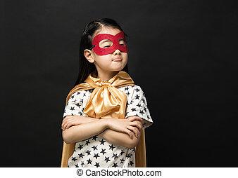 nero, bambini, superhero, fondo