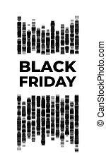 nero, banner., parete, mattone, stilizzato, venerdì,...