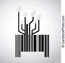 nero, barcode, circuito elettronico, illustrazione