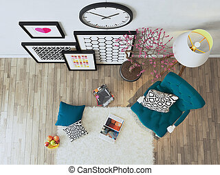 nero, bergere, cornici, 3d, decorazione, idea, vista, blu, interpretazione