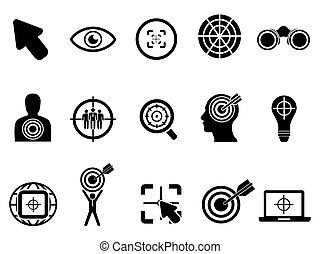 nero, bersaglio, icone, set