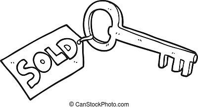 nero bianco, cartone animato, casa nuova, chiave