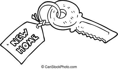 nero bianco, cartone animato, chiave camera, con, casa nuova, etichetta