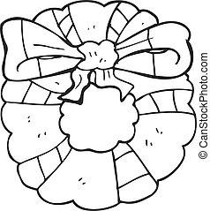 Bianco ghirlanda nero retro uva illustration - Cartone animato natale agrifoglio di natale ...