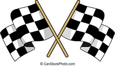 nero, bianco, checkered, bandiere, attraversato