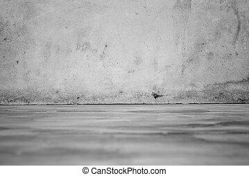 nero bianco, di, cemento, parete, e, pavimento legno