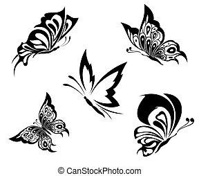 nero, bianco, farfalle, di, uno, tatuaggio