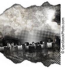 nero bianco, grunge, città, struttura