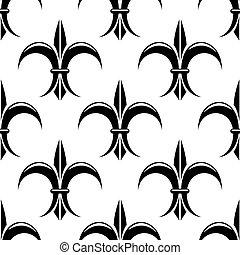 nero bianco, lys de fleur, seamless, modello