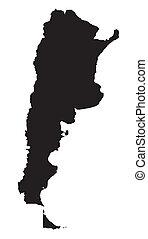 nero bianco, mappa, di, argentina